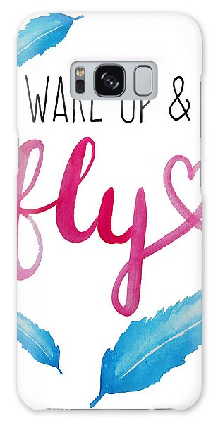 Feathers Galaxy Case - Wake Up And Fly Watercolor by Michelle Eshleman