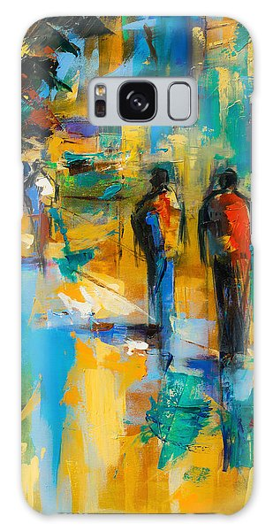Abstract People Galaxy Case - Walk In The City by Elise Palmigiani