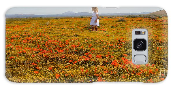 Walking In Poppies Galaxy Case