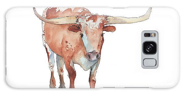 Walking Tall Texas Longhorn Watercolor And Ink By Kmcelwaine Galaxy Case