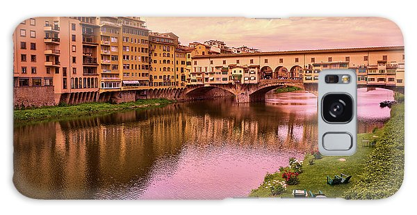 Sunset At Ponte Vecchio In Florence, Italy Galaxy Case
