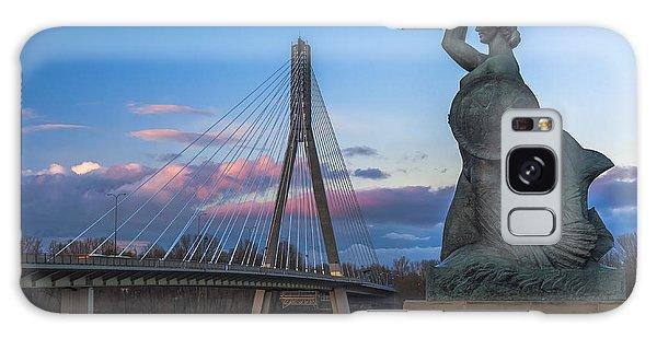 Warsaw Mermaid And Swiatokrzyski Bridge On Vistula Galaxy Case