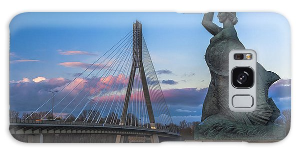 Warsaw Mermaid And Swiatokrzyski Bridge On Vistula Galaxy Case by Julis Simo