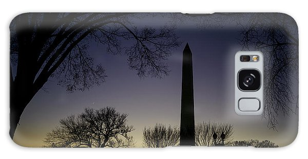 Washington Monument At Twilight With Moon Galaxy Case