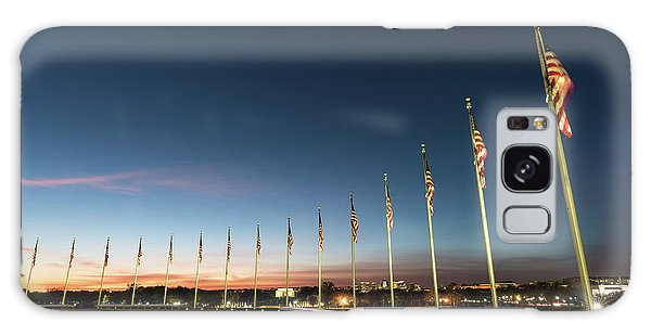 Lincoln Memorial Galaxy S8 Case - Washington Monument Flags by Larry Marshall