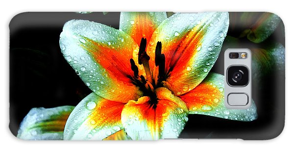 Water Droplet Covered White Lily  Galaxy Case by Andee Design