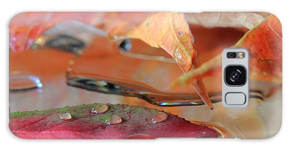 Water Drops On Autumn Leaves Galaxy Case