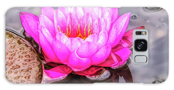 Water Lily In The Rain Galaxy Case