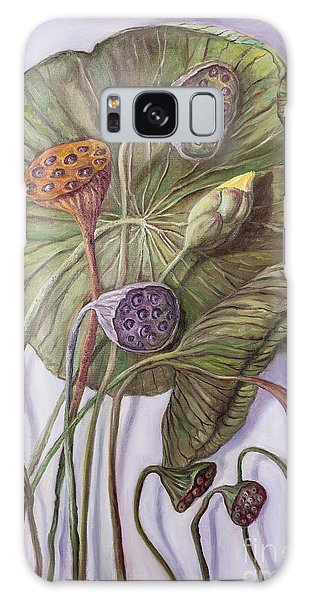 Water Lily Seed Pods Framed By A Leaf Galaxy Case