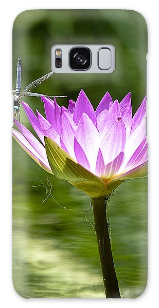 Galaxy Case featuring the photograph Water Lily With Dragon Fly by Bill Barber