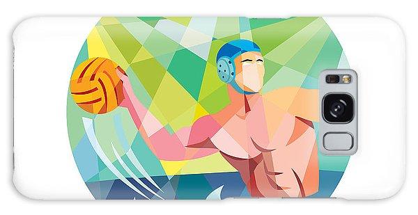 Sportsman Galaxy Case - Water Polo Player Throw Ball Circle Low Polygon by Aloysius Patrimonio