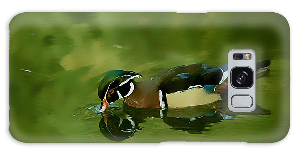 Male Wood Duck Water Reflections Galaxy Case by Claudia Ellis