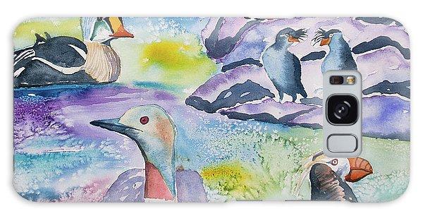 Watercolor - Alaska Seabird Gathering Galaxy Case