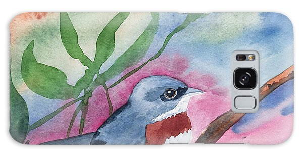 Watercolor - Bird With Colorful Background Galaxy Case