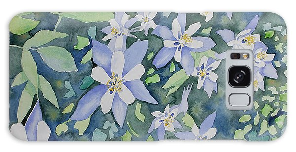 Watercolor - Blue Columbine Wildflowers Galaxy Case
