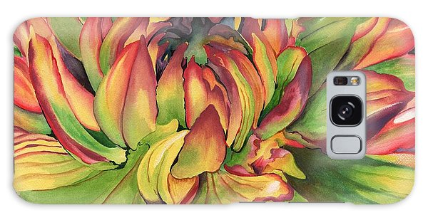 Watercolor Dahlia Galaxy Case by Angela Armano