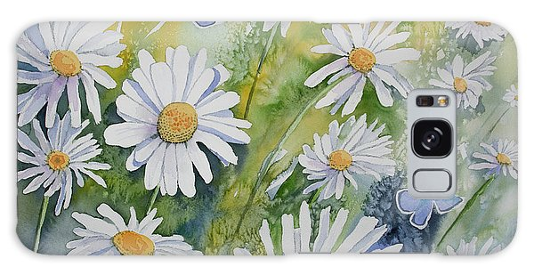 Watercolor - Daisies And Common Blue Butterflies Galaxy Case