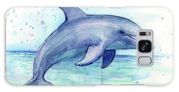 Dolphin Galaxy Case - Watercolor Dolphin Painting - Facing Right by Olga Shvartsur