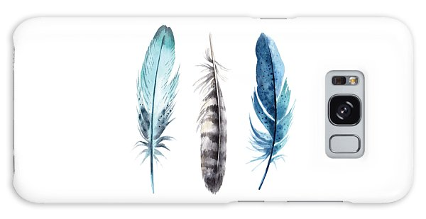 Watercolor Feathers Galaxy Case