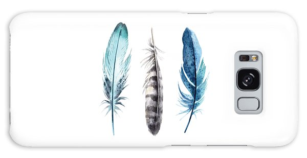 Watercolor Feathers Galaxy Case by Jaime Friedman