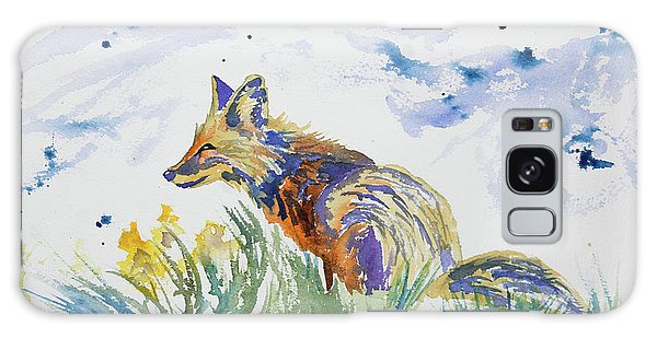 Watercolor - Fox On The Lookout Galaxy Case