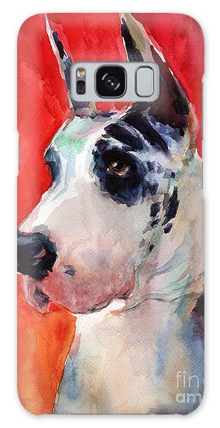 Watercolor Harlequin Great Dane Dog Portrait 2  Galaxy Case