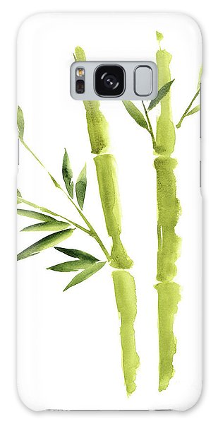 Wall Paper Galaxy Case - Bamboo Stick Wall Paper Art, Watercolor Living Room Decor Illustration, Green Bamboo Leaves Painting by Joanna Szmerdt