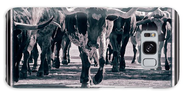 Galaxy Case featuring the photograph Watercolor Longhorns 2015 by Joan Carroll