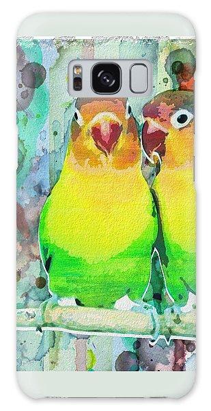 Watercolor Neon Parrots Bird Painting Watercolor Abstract Galaxy Case
