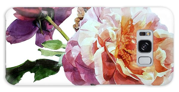 Watercolor Of Two Roses In Pink And Violet On One Stem That  I Dedicate To Jacques Brel Galaxy Case