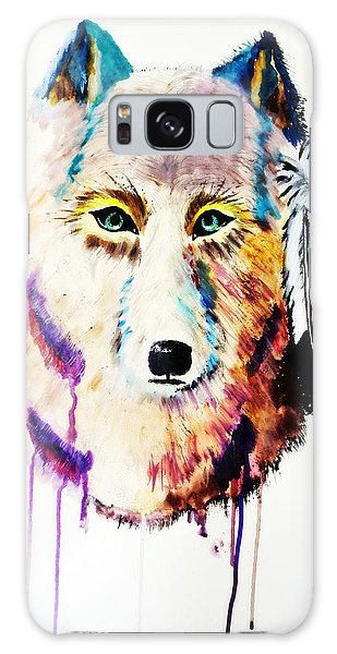 Watercolor Painting Of Spirit Of The Wolf By Ayasha Loya Galaxy Case