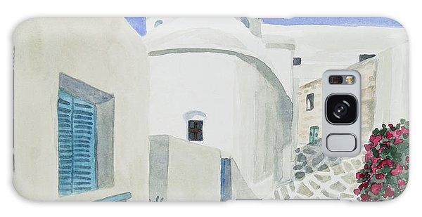 Watercolor - Paros Church And Street Scene Galaxy Case