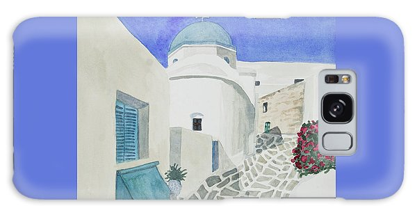 Watercolor - Paros Church And Street Scene Galaxy Case