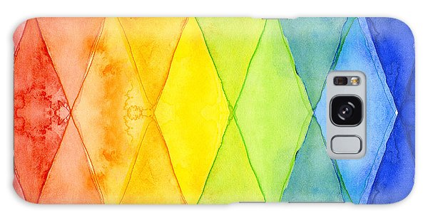 Shapes Galaxy Case - Watercolor Rainbow Pattern Geometric Shapes Triangles by Olga Shvartsur
