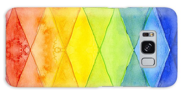 Watercolor Rainbow Pattern Geometric Shapes Triangles Galaxy Case by Olga Shvartsur