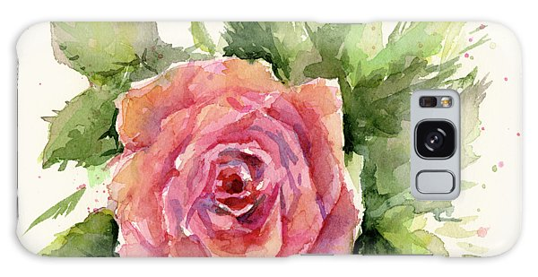 Pink Flower Galaxy Case - Watercolor Rose by Olga Shvartsur