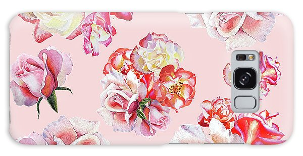 Galaxy Case featuring the painting Watercolor Roses Pink Dance by Irina Sztukowski