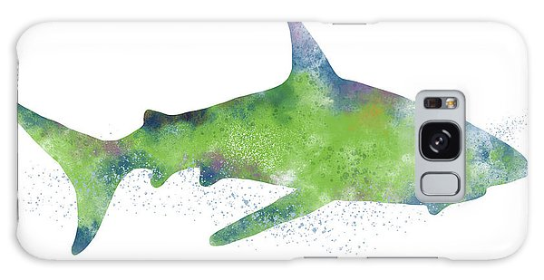 Swimming Galaxy Case -  Watercolor Shark 2-art By Linda Woods by Linda Woods