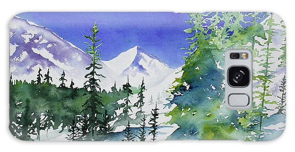 Watercolor - Sunny Winter Day In The Mountains Galaxy Case