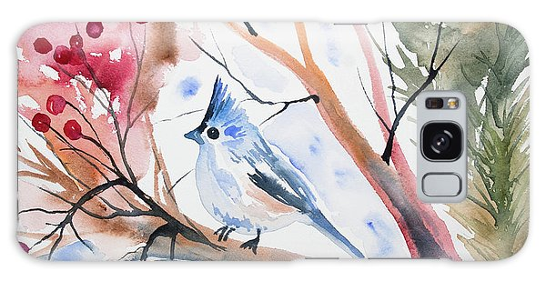 Watercolor - Tufted Titmouse With Winter Berries Galaxy Case