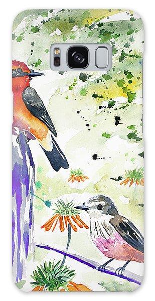 Watercolor - Vermilion Flycatcher Pair In Quito Galaxy Case