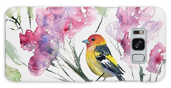 Watercolor - Western Tanager In A Flowering Tree Galaxy Case