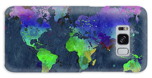 Wall Paper Galaxy Case - Watercolor World Map Blue by Delphimages Photo Creations