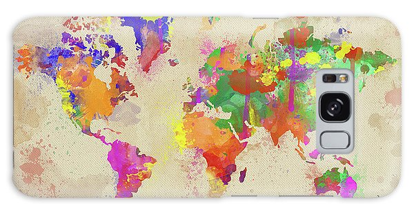 New Trend Galaxy Case - Watercolor World Map On Old Canvas by Zaira Dzhaubaeva