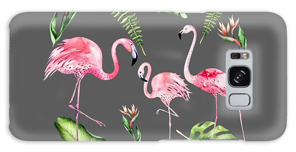 Galaxy Case featuring the painting Watercolour Flamingo Family by Georgeta Blanaru