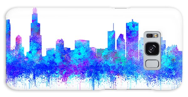 Galaxy Case featuring the painting Watercolour Splashes And Dripping Effect Chicago Skyline by Georgeta Blanaru