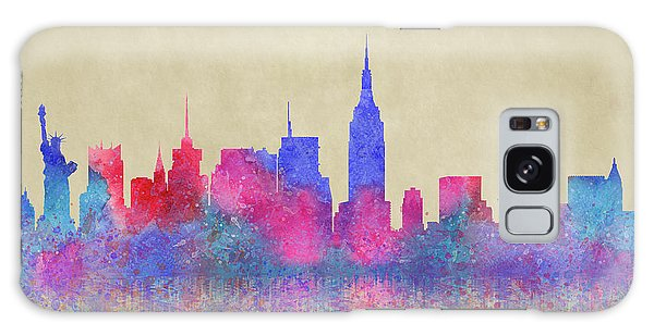 Galaxy Case featuring the digital art Watercolour Splashes New York City Skylines by Georgeta Blanaru