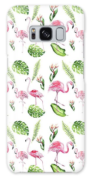 Galaxy Case featuring the painting Watercolour Tropical Beauty Flamingo Family by Georgeta Blanaru