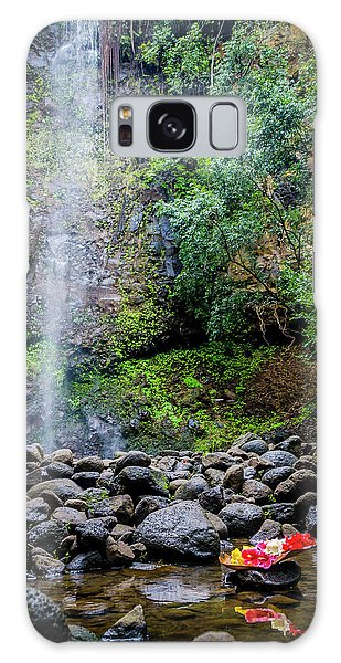 Waterfall And Flowers Galaxy Case