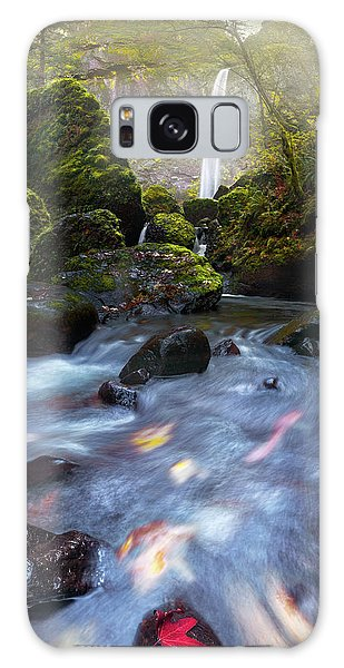 Waterfall And Stream With Fluxing Autumn Leaves Galaxy Case